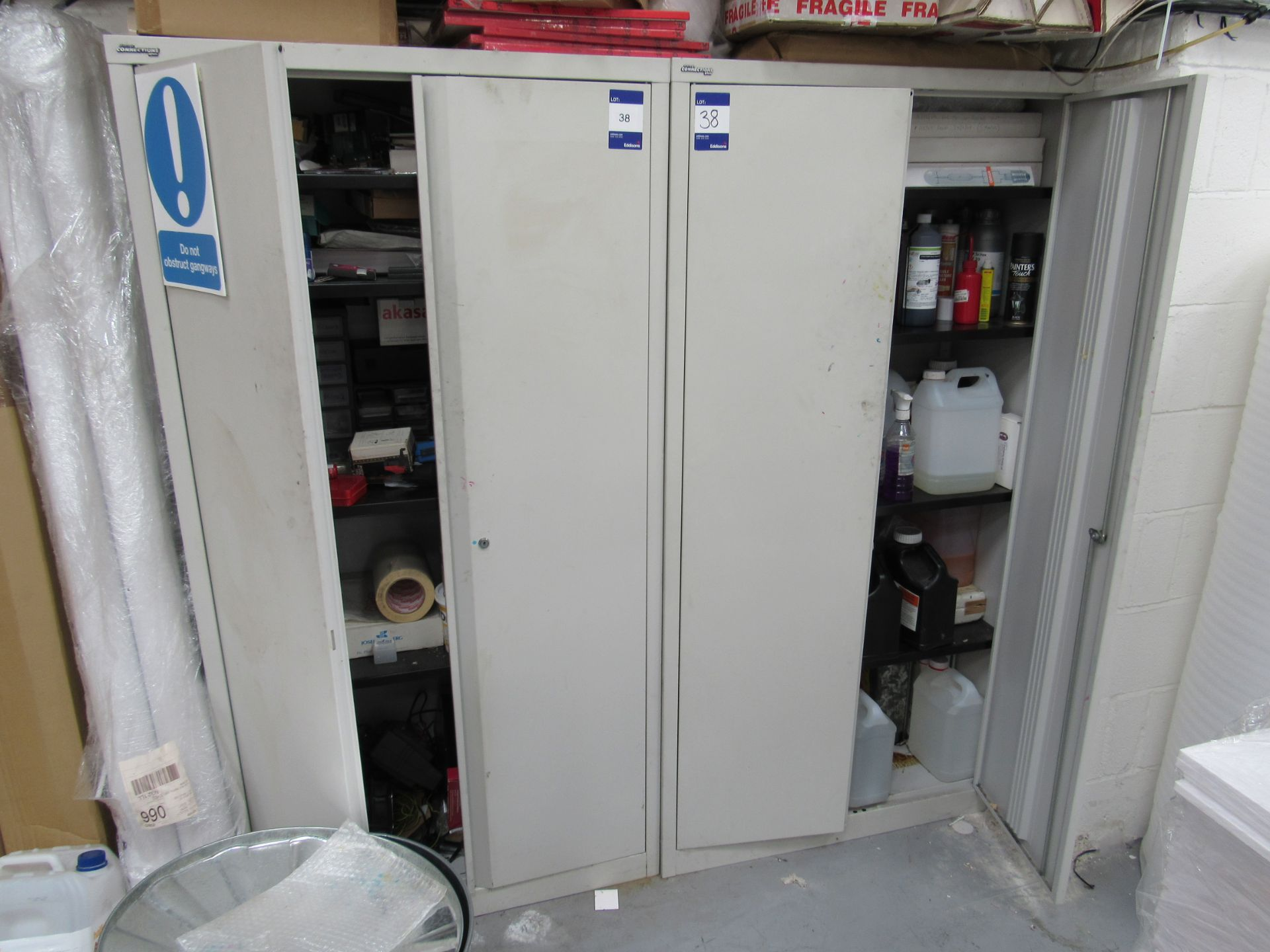 2 Steel Cabinets and Contents - Image 2 of 9
