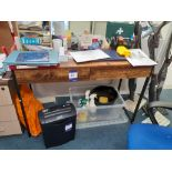 Two Timber Effect Desks and Office Chair