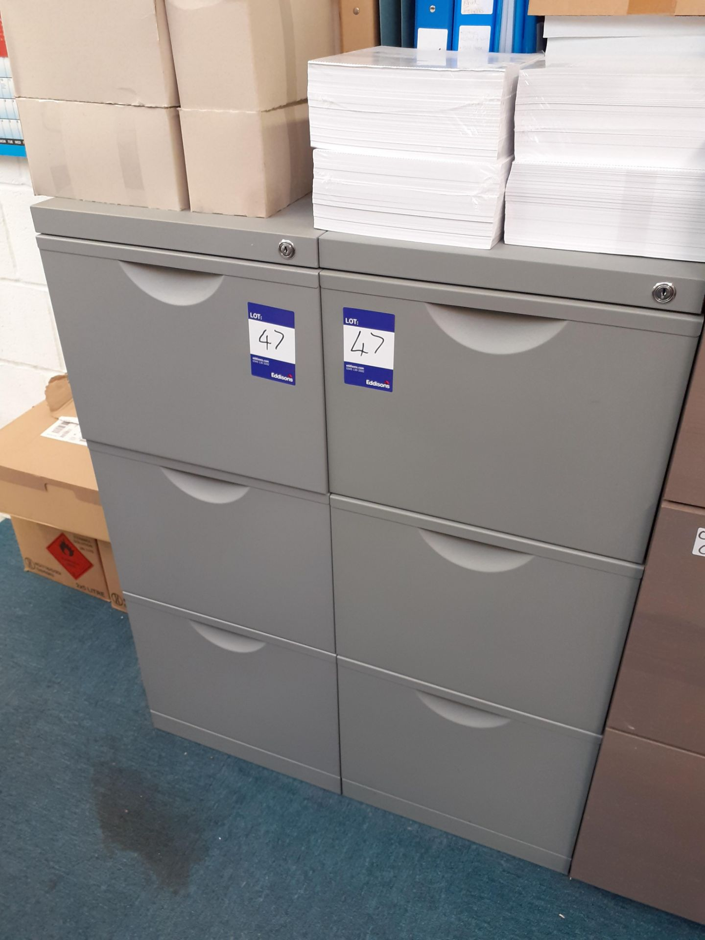 Two Steel 3-Drawer Filing Cabinets and Wood Effect