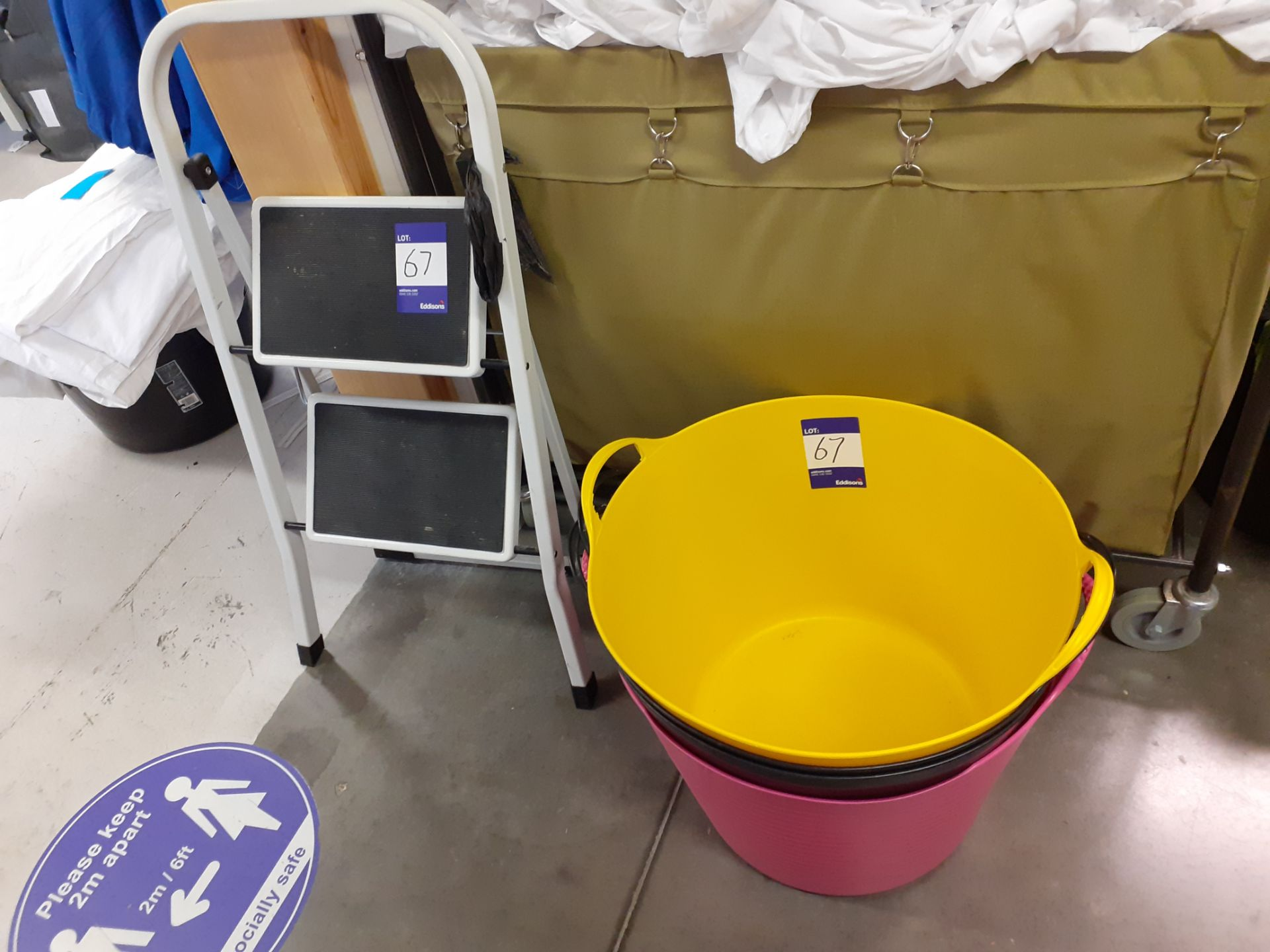 3 Plastic Buckets and small set of steps