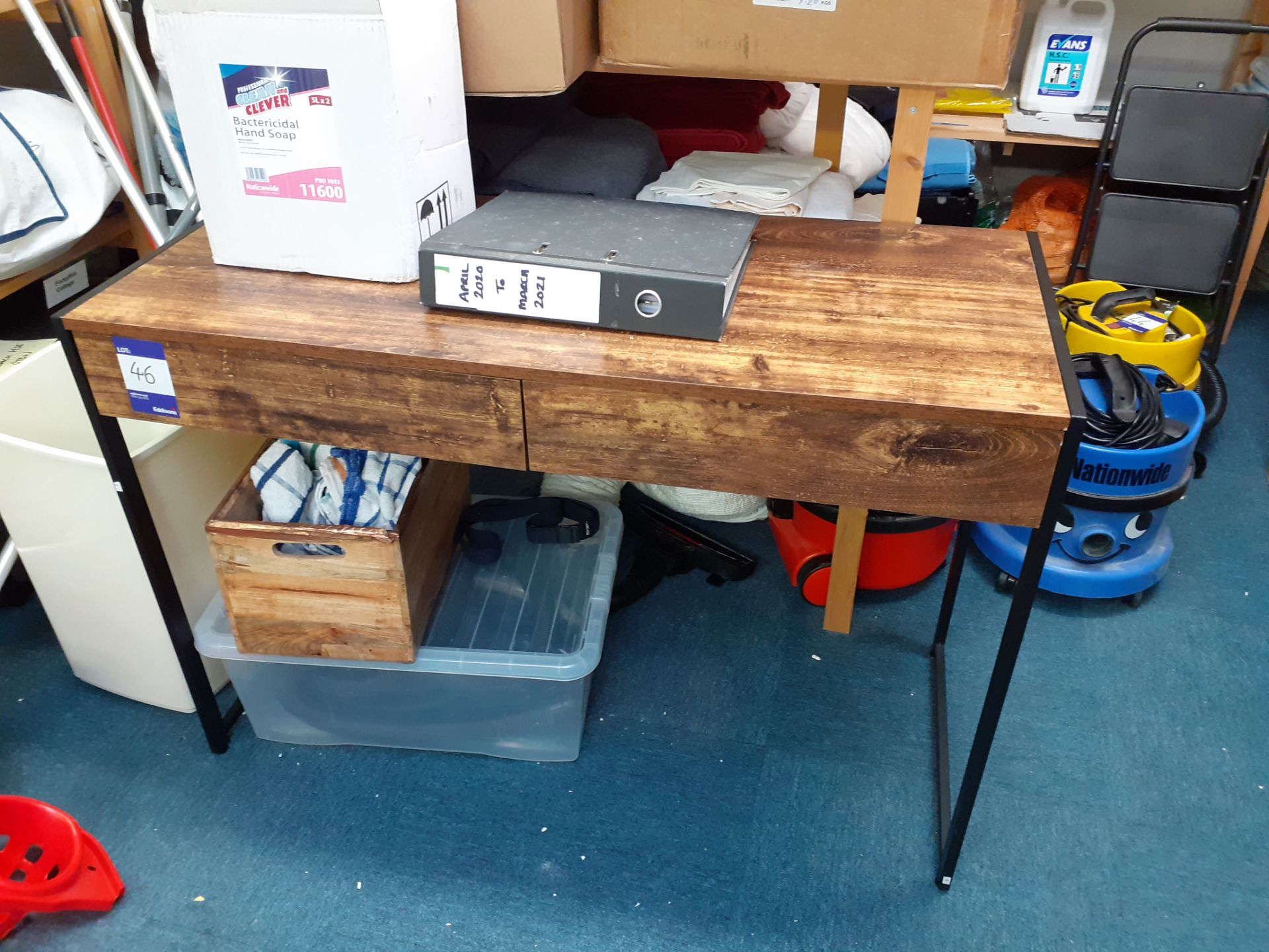 Two Timber Effect Desks and Office Chair - Image 2 of 3
