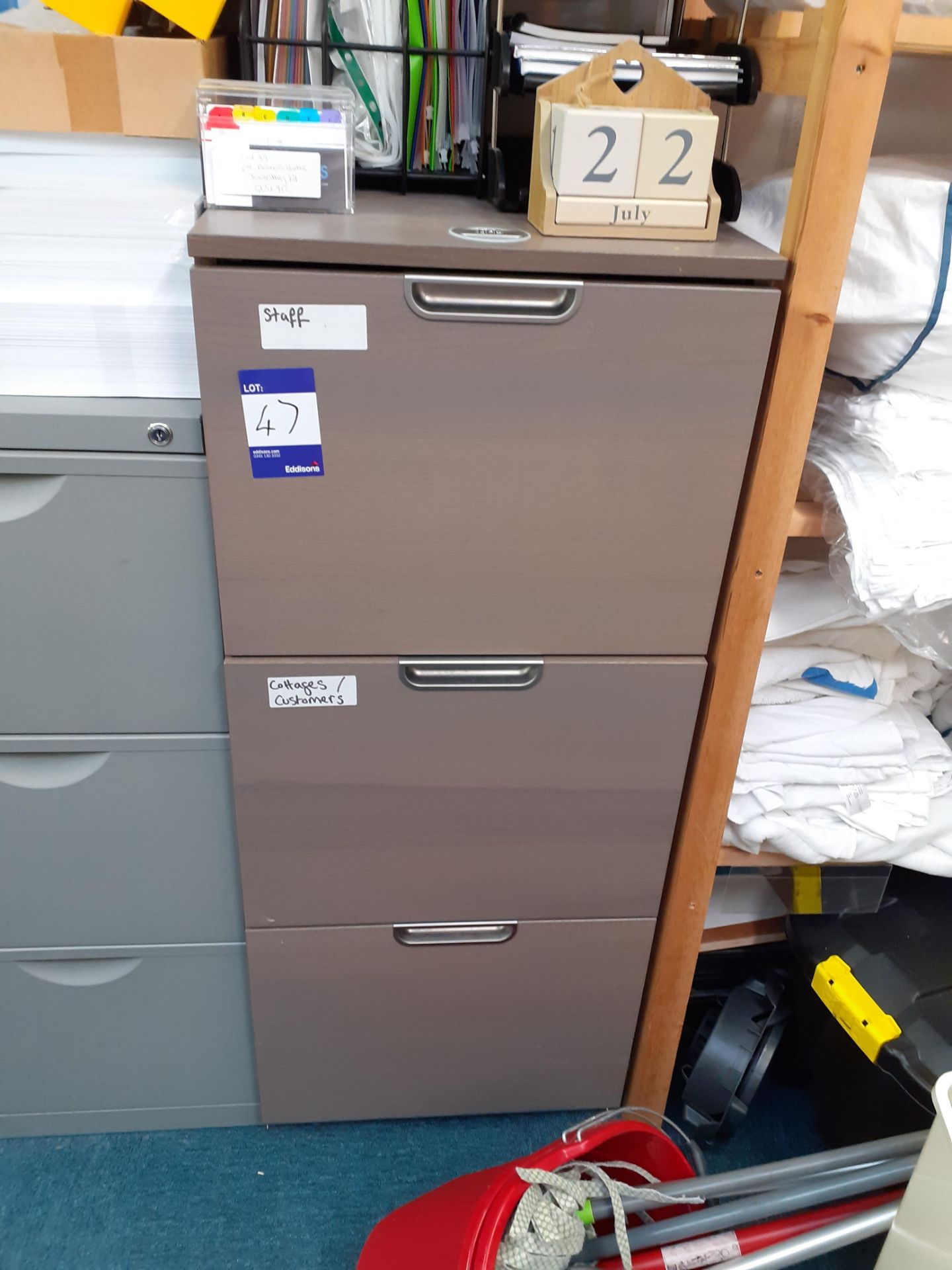 Two Steel 3-Drawer Filing Cabinets and Wood Effect - Image 2 of 2