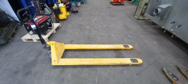 Pallet truck, extra long tine