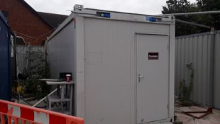 Steel 20ft Portable Site Welfare Cabin containing Hotpoint Cooker, Bush Fridge, Folding Table and
