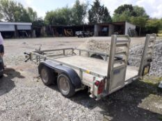 Ifor Williams twin axle plant trailer (no identification plate). This lot is located in Bampton,