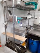 Chrome Four Tier Shelving Unit & Contents, Located at 14 Leicester Square, London WC2H 7NG