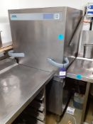 Winterhalter Stainless Steel Pull Down Basket Type Dishwasher with Feed & Take Off Tables with