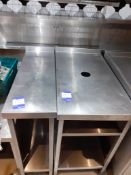 2 Stainless Steel Infill Tables & Stainless Steel Low Stand, Located at 14 Leicester Square,