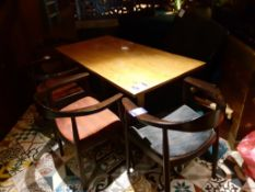 Oak Topped Twin Pedestal Table 1500 x 750mm with Four Wooden Elbow Chairs, Located at 14 Leicester