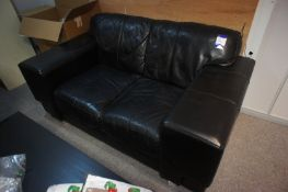 Leather effect 2 seater sofa, to mezzanine office