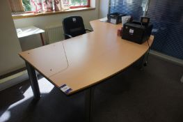Large contemporary beech effect Directors desk, with mobile chair, to first floor
