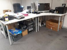 2 Module desk unit, with mobile office chair (Contents to desk not included)