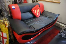 Leather effect 2 seater sofa, with Superhero themed cushions