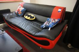 Leather effect 3 seater sofa, with Superhero themed cushions