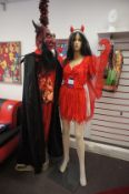 2 x Halloween costumed mannequins, with 18 x polystyrene mannequin heads