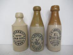 3 x Grimsby J.B. Sykes & Co (1), J.W.Saweard's (1) and G.Bonnets (1) Stone Bottles