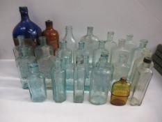 Qty of Chemist/ Pharmacy themed bottles, mostly from Grimsby