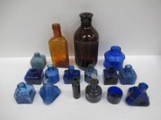 Qty of Cobolt Blue Glass Inkwells and two other coloured Bottles, one being 'The Killgerm Company- C