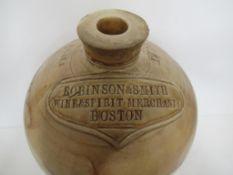 "Robinson & Smith Wine and Spirit Merchants Boston ""1765"" 2 Gall Flagon"