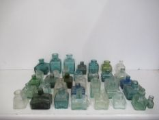 Qty of assorted Glass Inkwells