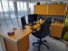 Single Person Workstation with 1 single pedestal desk, covid screens, single pedestal desk with