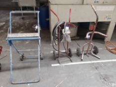 2 bottle trolleys and dispenser trolley, as lotted
