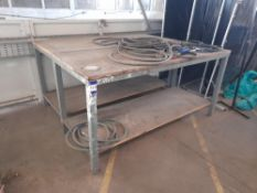 2x Timber Topped Fabricated Steel Work Benches, 1800mm x 750mm