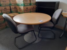 Circular Meeting Table with two chairs