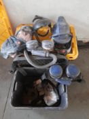 Various Air Stream Helmet Systems with rubberised hood, chargers, etc storage box as lotted