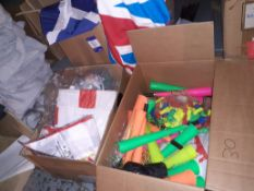 Box of Union Jack Hand Towels, Box of Scotland Flags & Box of England T-Shirts & Caps & Box of