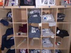 Two Shelving Units & Contents of Mainly Scottish Themed Hooded Sweat Shirts