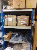 Rack & Contents & 4 Boxes Tartan Shawls, Cotton Bags, Socks, Enamel Badges
