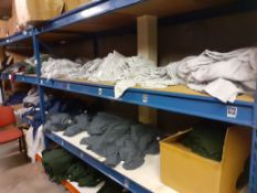 Two Bays of Shelving & Contents of Mainly Plain T-Shirts (Excludes Fridge Magnets)