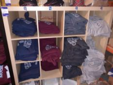 Shelving Unit & Contents of Oxford Hooded Sweat Shirts