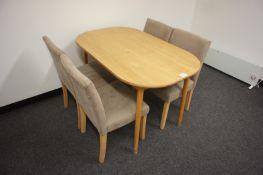 Oak Effect Dinning Table with 4 Upholstered Chairs