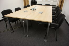 4 Oak Effect Mobile Meeting Room Tables with Integ