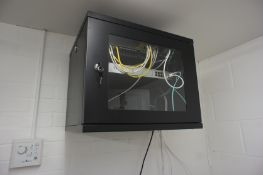 Wall mounted Comms Cabinet with contents including