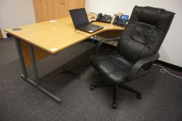 Oak Effect Right Hand Radius Desk with Leather Eff