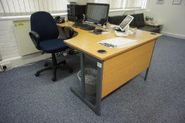 Oak Effect Right Hand Radius Desk, 3 Drawer Desk H