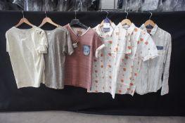 6 x Various shirts, 1 x long sleeve, 3 x T-shirt,