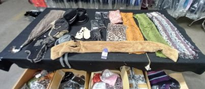 Large Quantity of Various Designer Ladies Scarves, Hats and Gloves