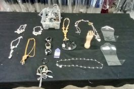 Quantity of Ladies Jewellery To Box To Include Necklaces, Rings, Bracelets, Ear Rings and Ring Displ
