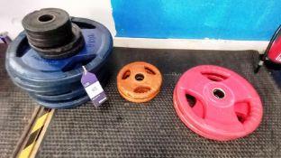 Assortment of Plates including 4 x 1.25kg, 2 x 2.5kg, 2 x 5kg, 8 x 20kg