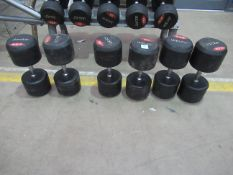 Various Jordan rubber covered dumbells