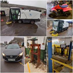 Commercial Road Sweepers, Mazda 6 Car + Grass Cutting/Ground Care Equipment
