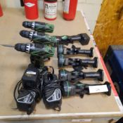 LOT: HITACHI Cordless Tools (3 Drills, 4 Lights, 2 Chargers, 5 Batteries)