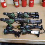 LOT: HITACHI Cordless Tools (4 Drills, 6 Lights, 2 Chargers, 5 Batteries)