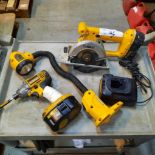 LOT: (7 pcs) DEWALT Cordless Tools (Light, Saw, Impact Drill, Drill, (2) Batteries & Charger
