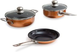 Nuovva 5 Pc Copper Cookware Set Non Stick Coating Stainless Steal Induction Base Oven Safe Pots Pans
