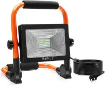 RRP £24 MEIHUA Led Work Light 30W 3400LM Portable Light LED Floodlight IP66 Waterproof Construction
